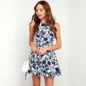 Lulus Ivory and Navy Blue Floral Print Dress